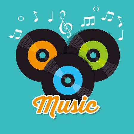 Diseño de ilustración de vector de etiqueta de festival de música de vinilos