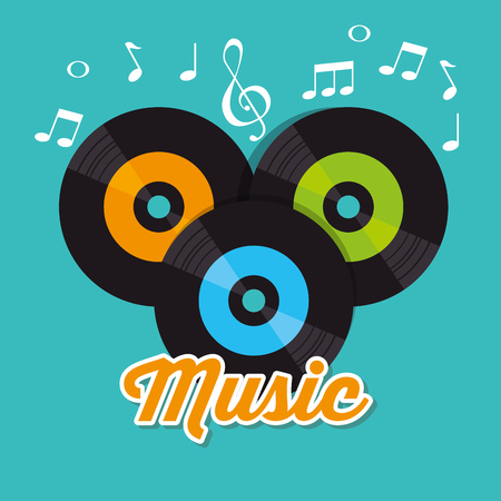 vinyls music festival label vector illustration design