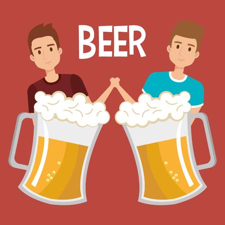 men with beers drink vector illustration design Иллюстрация