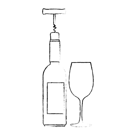 wine bottle silhouette with corkscrew and cup vector illustration design Stock Vector - 104877584