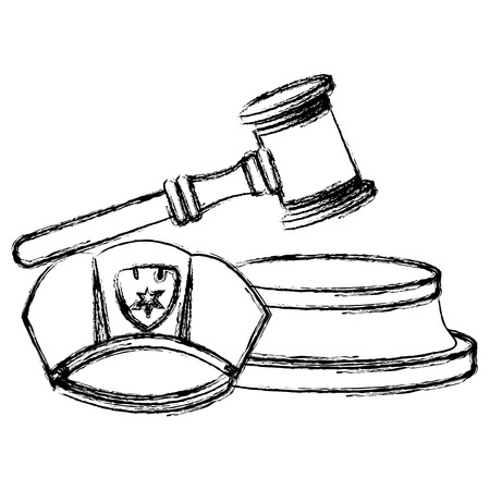 justice hammer with police hat vector illustration design Ilustrace