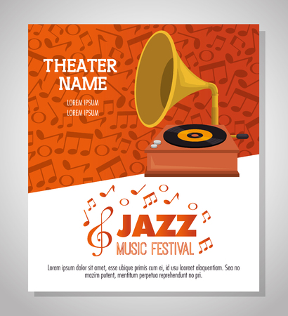 gramophone musical festival label vector illustration design