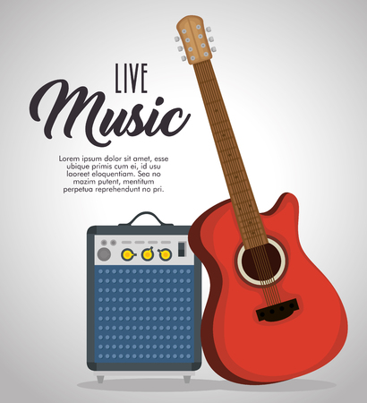 guitar electric instrument label vector illustration design