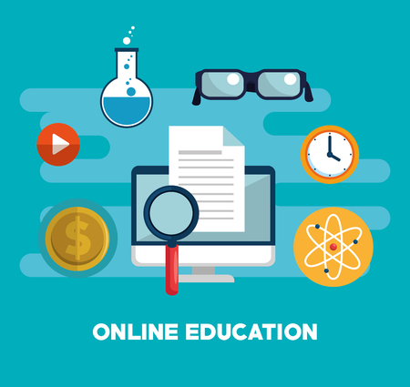 on line education with computer vector illustration design Stock Vector - 105039139