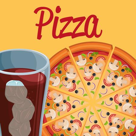 delicious italian pizza with soda glass vector illustration design Vetores