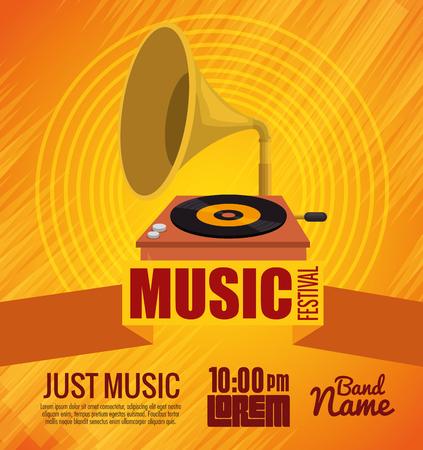 gramophone musical festival label vector illustration design