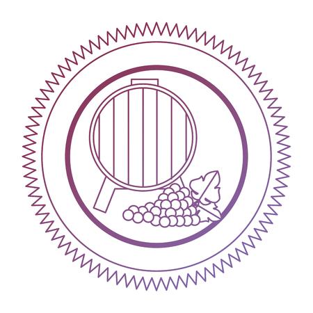 wine barrel with grapes cluster seal stamp vector illustration design