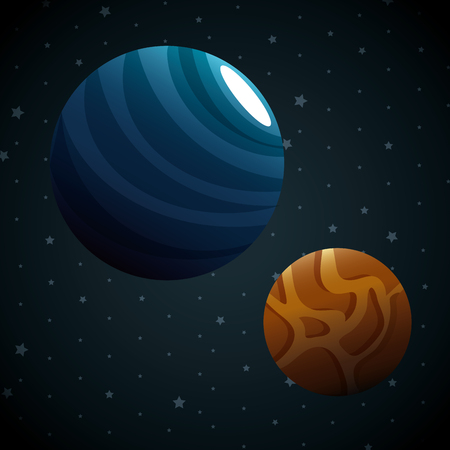 planets of the solar system scene vector illustration design 일러스트
