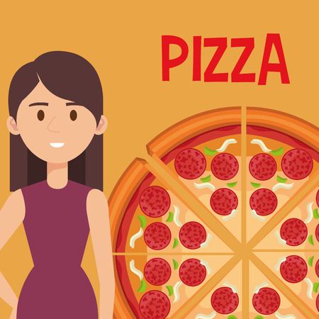 beautiful woman with italian pizza vector illustration design