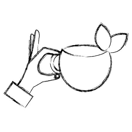 hand with tea cup vector illustration design