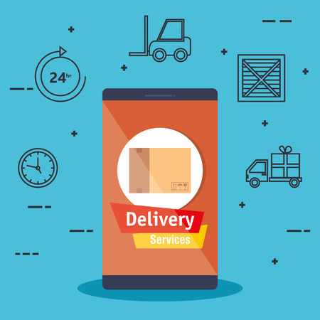 smartphone with app delivery service vector illustration design