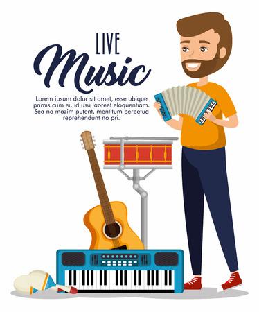musician man in concert vector illustration design Banque d'images - 114876646