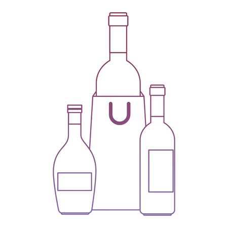 wine bottles with shopping bag vector illustration design Illustration