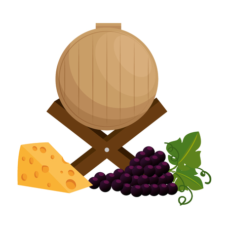 wine barrel with grapes cluster and cheese vector illustration design