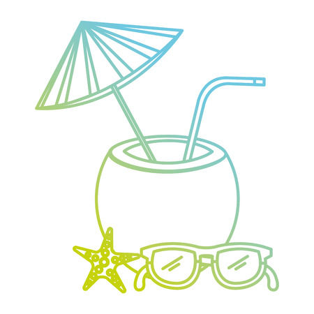 tropical coconut cocktail with starfish and glasses vector illustration design 写真素材
