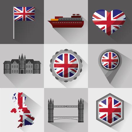united kingdom country flag banners boat shield london castle map brigde vector illustration