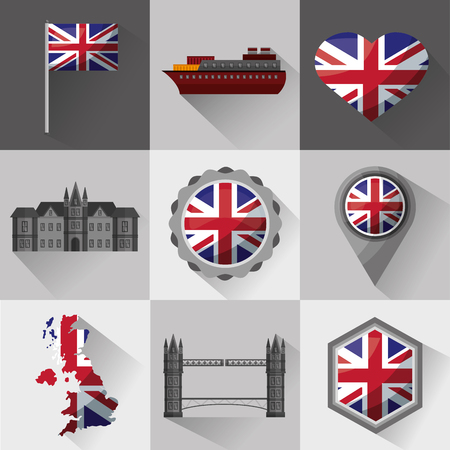 united kingdom country flag banners boat shield london castle map brigde vector illustration