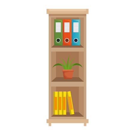 office boockcase wooden with books and plant vector illustration design Banco de Imagens - 104936444