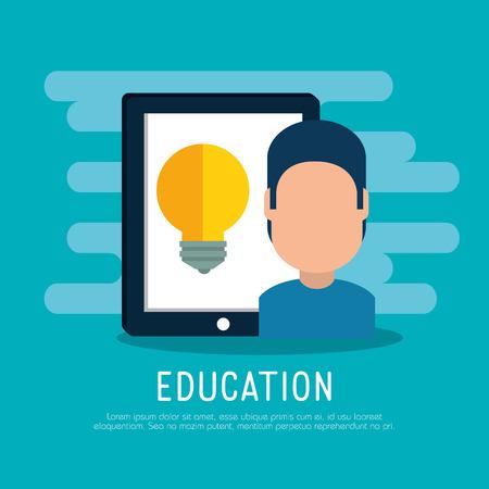 on line education with tablet vector illustration design Illustration