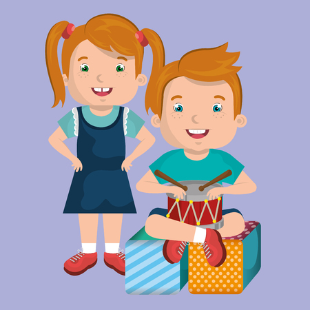 little boy and girl playing with toys characters vector illustration design Illusztráció