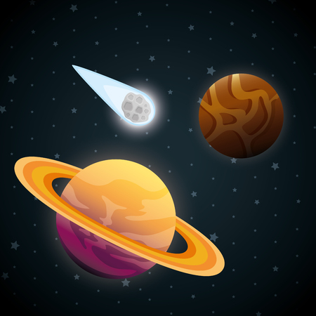 planets of the solar system scene vector illustration design 일러스트