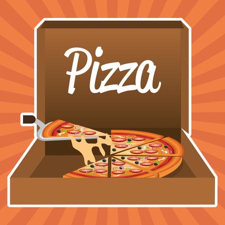 delicious italian pizza in carton box vector illustration design Banque d'images - 105068085