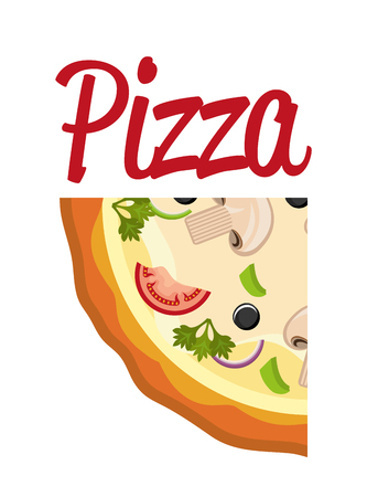 delicious italian pizza portion vector illustration design