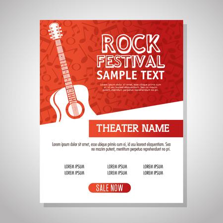 Guitare acoustique instrument label vector illustration design Vecteurs