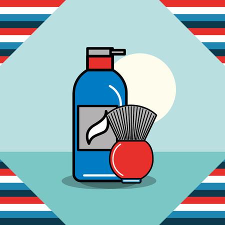 baber shop dough brush cream cut beard vector illustration Çizim