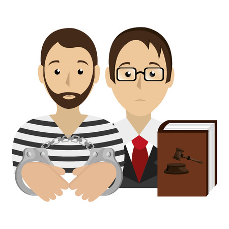 justice book with lawyer and prisoner vector illustration design