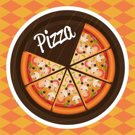 delicious italian pizza label vector illustration design Banco de Imagens - 104951905