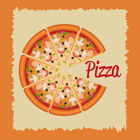 delicious italian pizza label vector illustration design Banco de Imagens - 105145484
