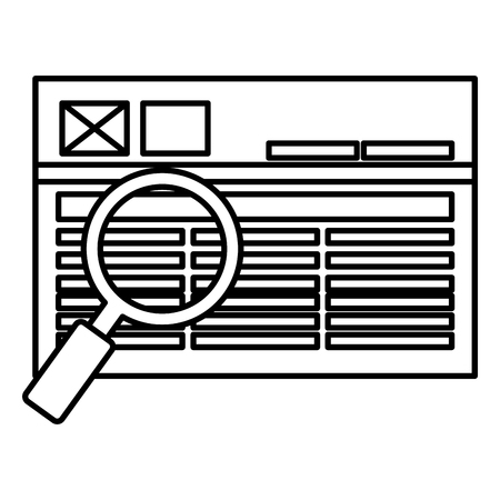 webpage with magnifying glass vector illustration design