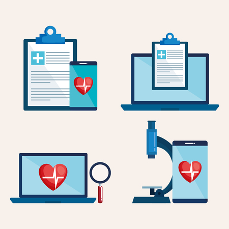 laptop and smartphone with telemedicine icons vector illustration design