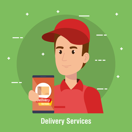 courier character delivery service icon vector illustration design