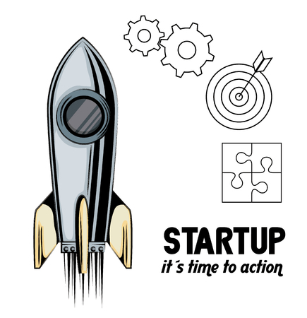 rocket with start up business icons vector illustration design Stock Vector - 105068438