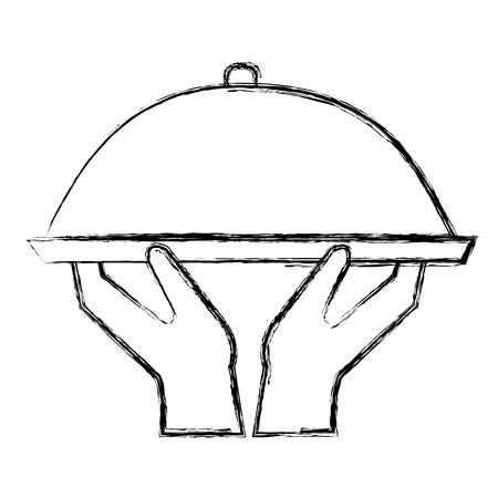 hands lifting tray server vector illustration design