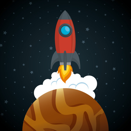 launcher rocket with planet vector illustration design 일러스트