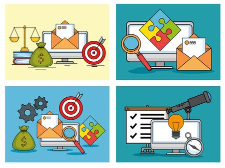 start up business set icons vector illustration design Stock Vector - 105039137