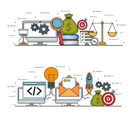 start up business set icons vector illustration design