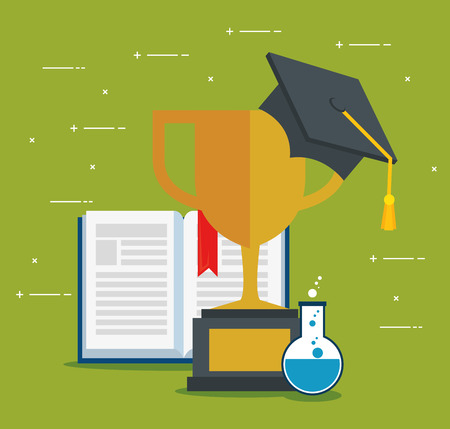 on line education with trophy cup vector illustration design