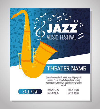 saxophone musical instrument label vector illustration design