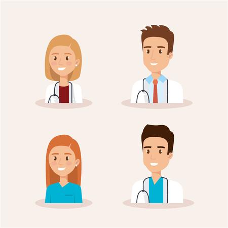 healthcare medical staff characters vector illustration design Illustration