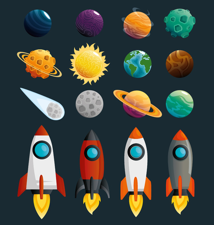 planets and rockets of the solar system scene vector illustration design