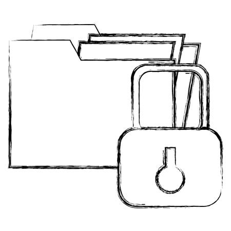 file folder with padlock vector illustration design