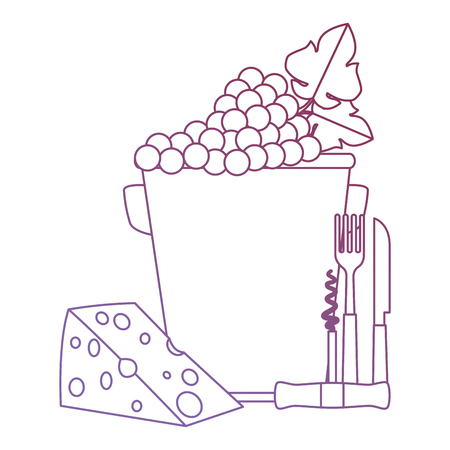 bucket with grapes cluster and cheese vector illustration design Ilustração