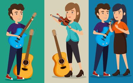 group of persons in concert vector illustration design Illustration