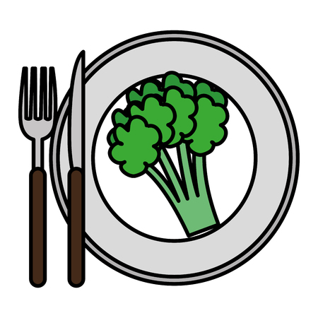dish with fresh broccoli and cutleries vector illustration design  イラスト・ベクター素材