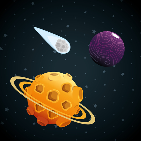 planets of the solar system scene vector illustration design