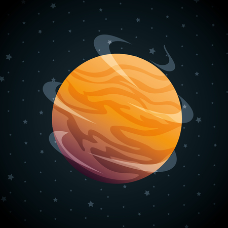 planet of the solar system scene vector illustration design